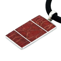 Double Sided Sponge Coral Rectangle Sterling Silver Pendant