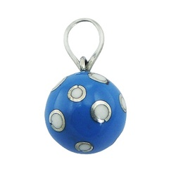 Light-Blue Harmony Ball Pendant Silver White Lovely Dots