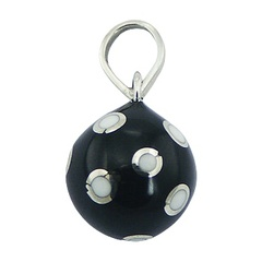 Black Small Harmony Ball Pendant Silver White Vivid Dots