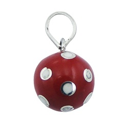 Red Resin Brass Harmony Ball Pendant Silver White Dots