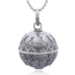 Antique Spiral Flower Ornament Chiming Sphere Silver Pendant