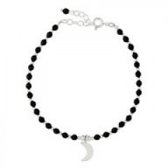 Black Agate & Silver Beads Bracelet Crescent Moon Charm