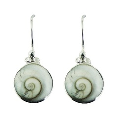 Shiva eye shell silver drop earrings with natural spiral design