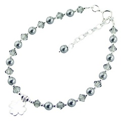 Swarovski crystals and crystal pearls bracelet with silver lucky clover charm
