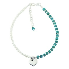 White pearl and turquoise beads bracelet with silver heart charm