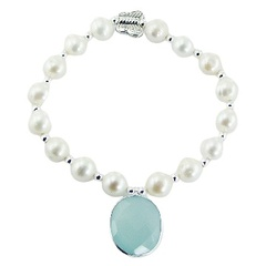 Pearl bracelet with light-blue chalcedony charm and silver butterfly