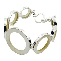Gorgeous handmade silver bracelet with mother of pearl open circles