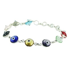 Sterling silver chain bracelet with colorful and vivid glass beads