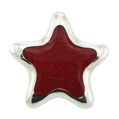 Sterling silver star pendant with red sponge coral inlay