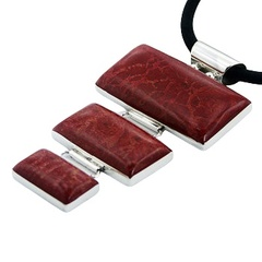 Coral rectangles three tiers silver pendant