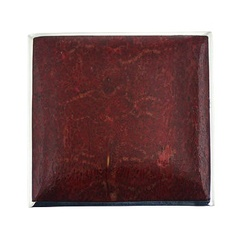 Handmade square silver pendant with red sponge coral and hidden bail