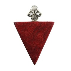 Chic triangle sterling silver pendant with red coral and ajoure bail