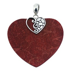 Big red coral heart pendant with sterling silver ajoure heart clasp