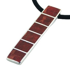 mosaic silver pendant six coral squares