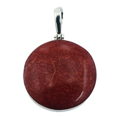 Modern red sponge coral pendant in sterling silver frame convexed disc