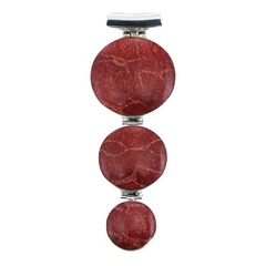 Three convexed red coral discs hinged 925 silver pendant 76mm