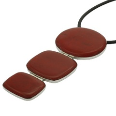 Silver natural red coral pendant