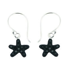 Gentle contrasting black czech crystals star shaped sterling silver dangle earrings