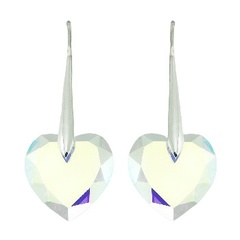 Swarovski ab coated heart shaped faceted crystals sterling silver earrings