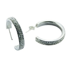 Classic transparent Czech crystal polished sterling silver hoops earrings