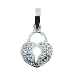 Silver heart lock shaped pendant with czech crystals
