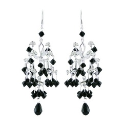 Sterling silver extended length glamorous wirework Swarovski crystals earrings