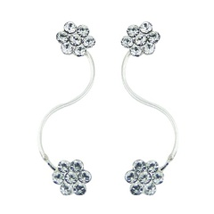 Flower swarovski ear line silver earrings