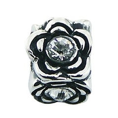 Beautiful casted sterling silver Swarovski crystal floral themed bead