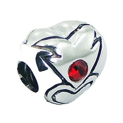 Double sided Swarovski crystals polished 925 sterling silver heart bead