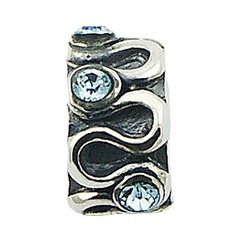 Unique design five swarovski crystals  bright wavy band polished sterling silver bead