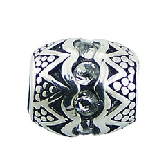 Balinese barrel shaped casted ornate sterling silver swarovski crystals bead