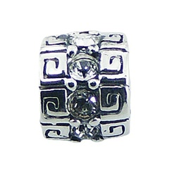 Casted Swarovski crystals etruscan pattern sterling silver bead