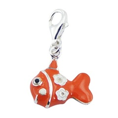 Enameled colorful fish clip-on 925 polished sterling silver charm