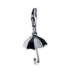 Adorable casted black white mini umbrella enamel polished sterling silver charm