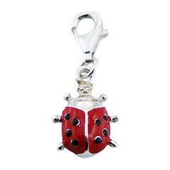 Red enameled adorable ladybird figure sterling silver charm