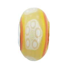 Floral pattern hand painted Fimo 925 sterling silver core bead