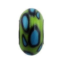 Hand painted donut shaped black blue green Fimo sterling silver core bead