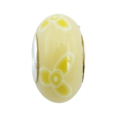 Spring flowers soft colored hand painted Fimo sterling silver bead