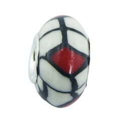 Black red on white ultra fashionable polymer fimo sterling silver core bead
