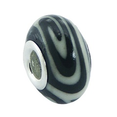 Unique fimo white spiral silver core bead