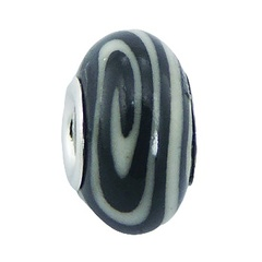 Unique black fimo hand painted white spiral sterling silver core bead