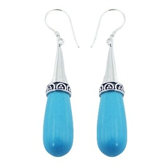 Balinese turquoise howlite polished ornate sterling silver dangle earrings
