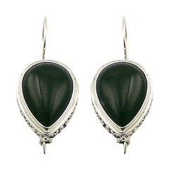 Gorgeous black agate cabochon gemstone ajoure sterling silver earrings