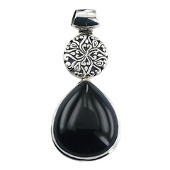 Silver pendant with black agate drop and ajoure disc
