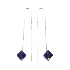 Cubical violet amethyst gemstone threader round wire chain sterling silver earrings