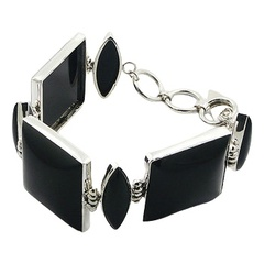 Sterling silver bracelet with black agate mixed shapes