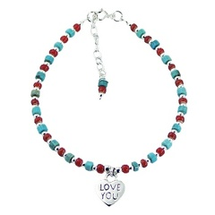 Sterling silver, turqouise and glass beads bracelet with silver heart charm