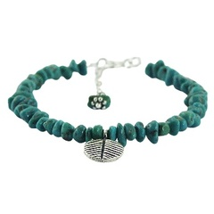 Turquoise beads bracelet silver leaf charm