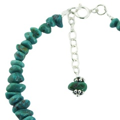 Turquoise beads bracelet silver leaf charm 3