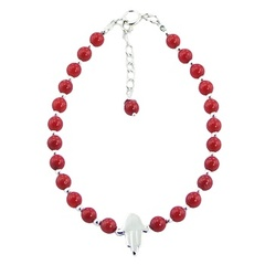 Red coral or black agate bracelet with silver beads and hamsa charm